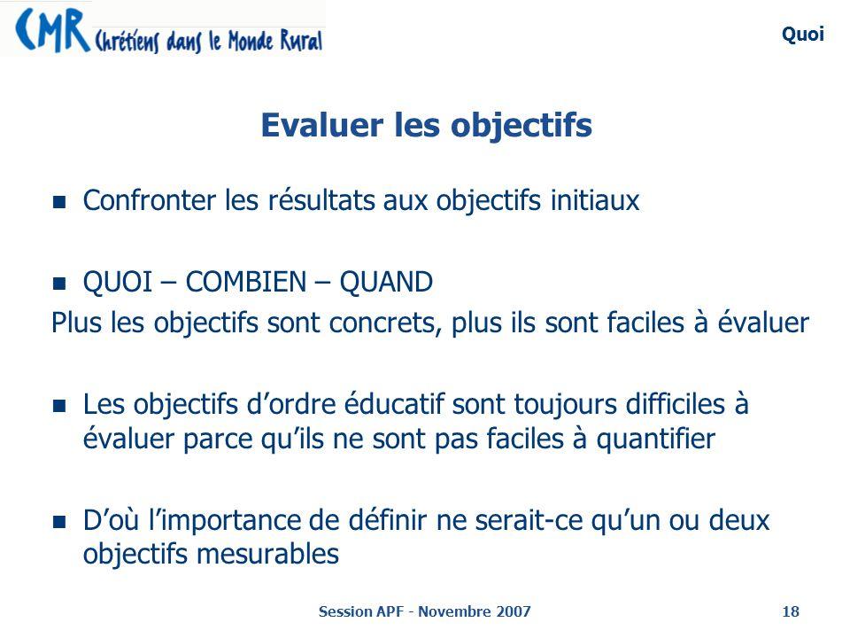 Session APF - Novembre 200718 Evaluer les objectifs Confronter les résultats aux objectifs initiaux QUOI – COMBIEN – QUAND Plus les objectifs sont concrets, plus ils sont faciles à évaluer Les objectifs dordre éducatif sont toujours difficiles à évaluer parce quils ne sont pas faciles à quantifier Doù limportance de définir ne serait-ce quun ou deux objectifs mesurables Quoi