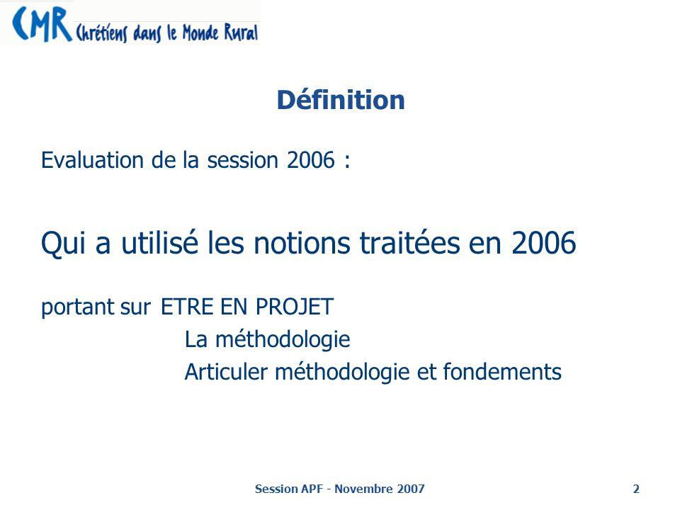 Session APF - Novembre 20072 Définition Evaluation de la session 2006 : Qui a utilisé les notions traitées en 2006 portant sur ETRE EN PROJET La méthodologie Articuler méthodologie et fondements