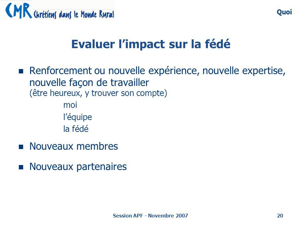 Session APF - Novembre 200720 Evaluer limpact sur la fédé Renforcement ou nouvelle expérience, nouvelle expertise, nouvelle façon de travailler (être heureux, y trouver son compte) moi léquipe la fédé Nouveaux membres Nouveaux partenaires Quoi