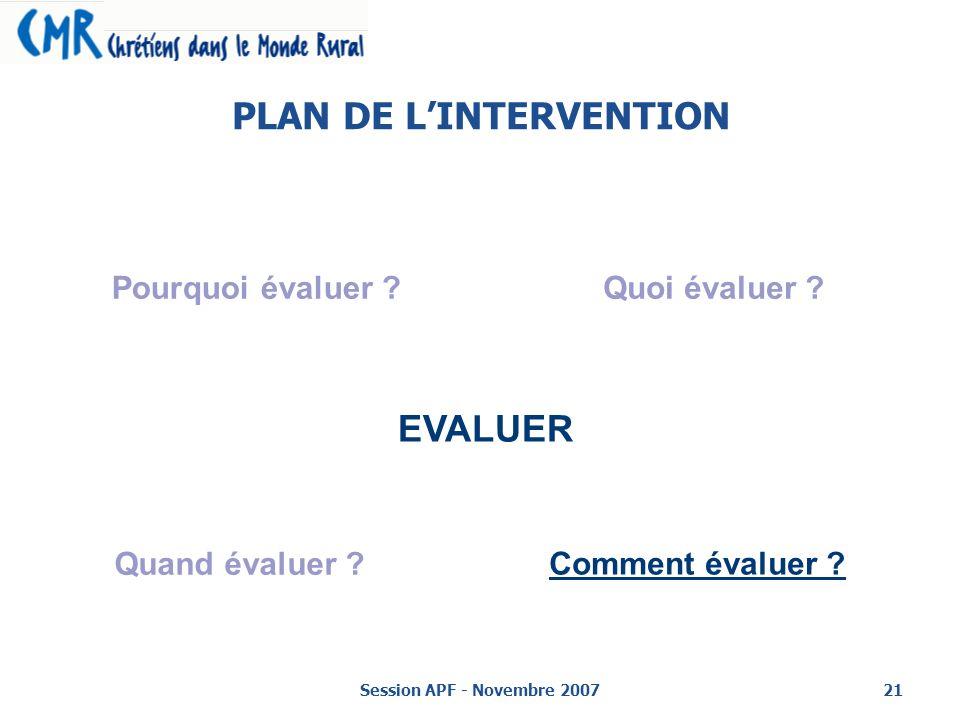 Session APF - Novembre 200721 PLAN DE LINTERVENTION EVALUER Pourquoi évaluer ?Quoi évaluer .