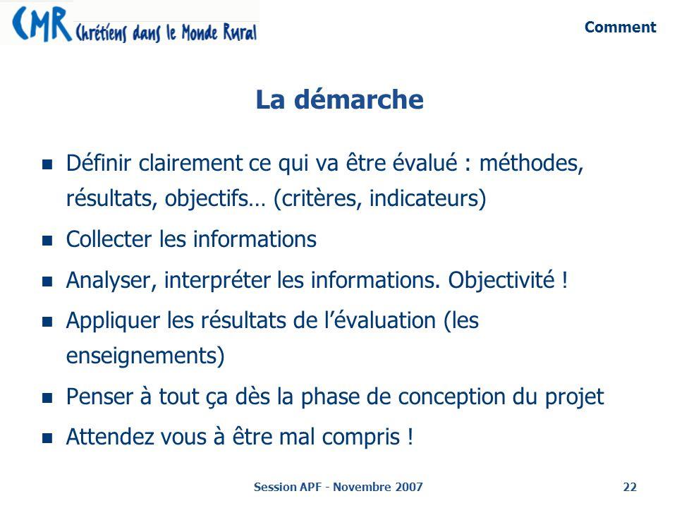 Session APF - Novembre 200722 La démarche Définir clairement ce qui va être évalué : méthodes, résultats, objectifs… (critères, indicateurs) Collecter les informations Analyser, interpréter les informations.