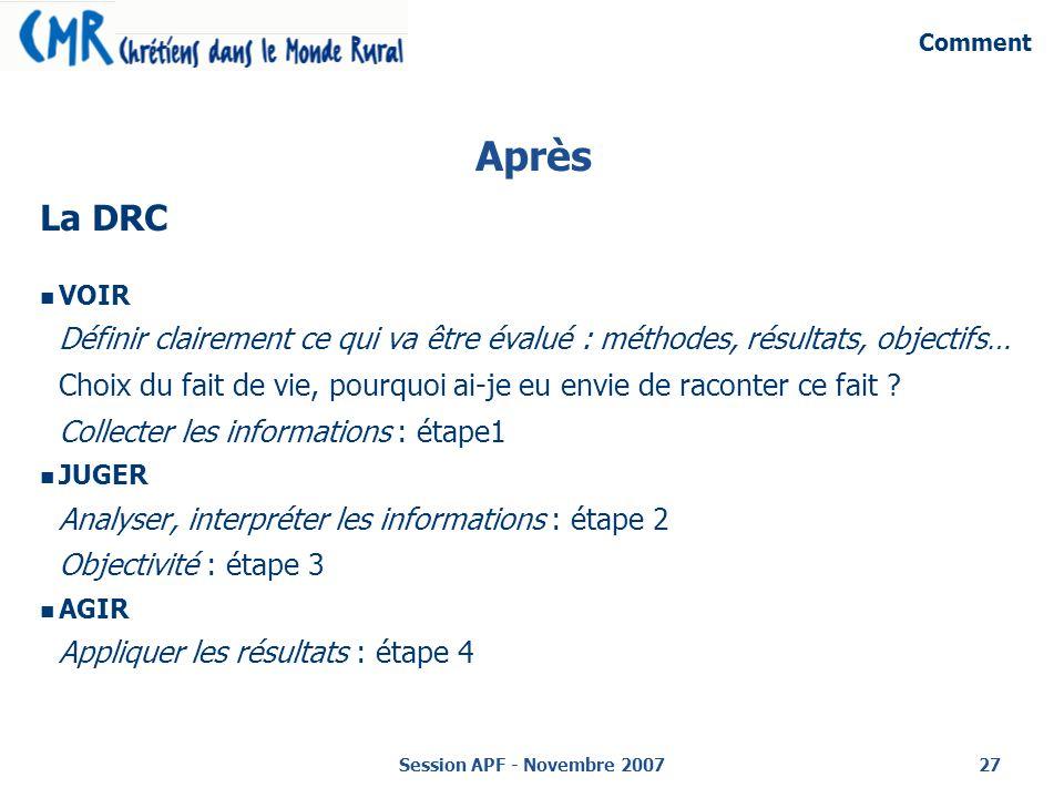 Session APF - Novembre 200727 Après La DRC VOIR Définir clairement ce qui va être évalué : méthodes, résultats, objectifs… Choix du fait de vie, pourquoi ai-je eu envie de raconter ce fait .