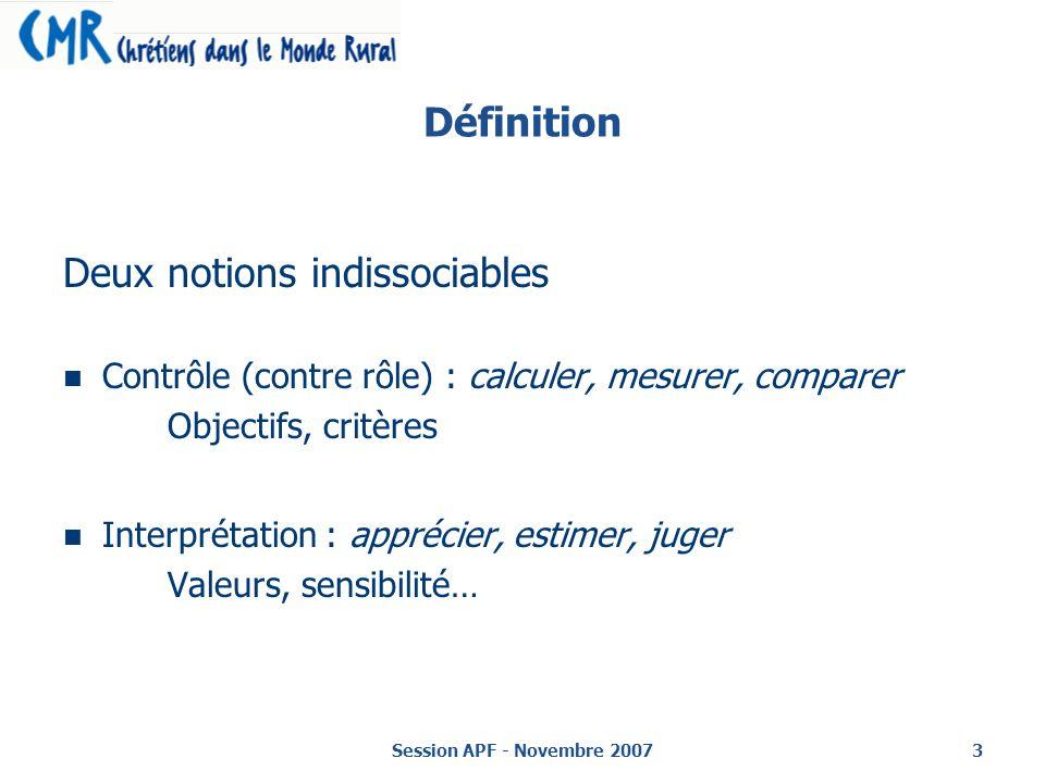Session APF - Novembre 20073 Définition Deux notions indissociables Contrôle (contre rôle) : calculer, mesurer, comparer Objectifs, critères Interprétation : apprécier, estimer, juger Valeurs, sensibilité…