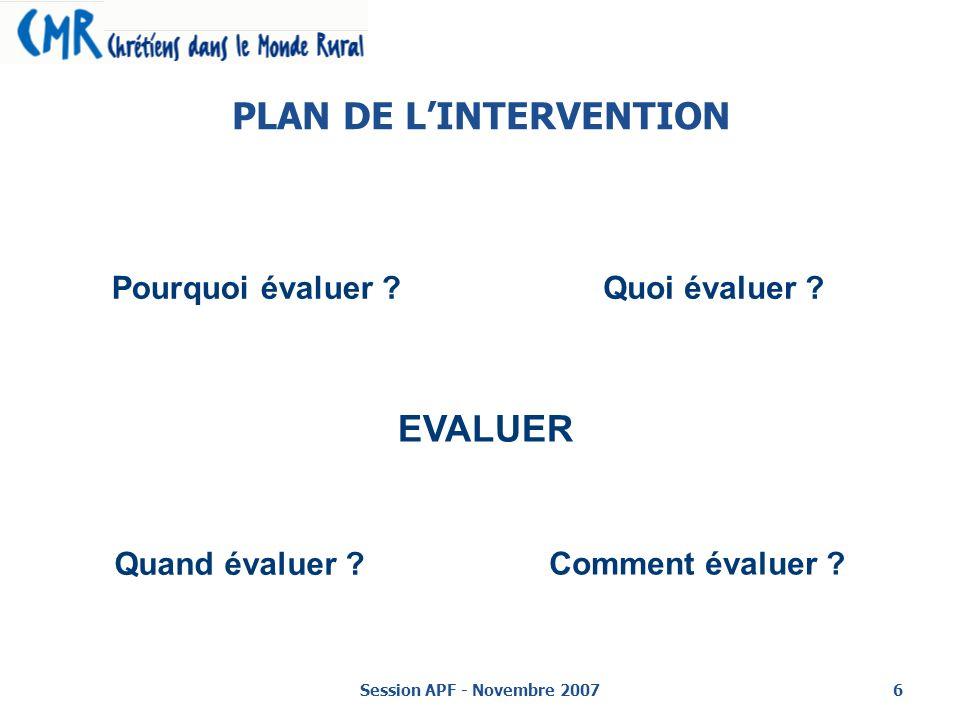 Session APF - Novembre 20076 PLAN DE LINTERVENTION EVALUER Pourquoi évaluer ?Quoi évaluer .
