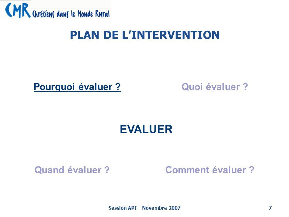 Session APF - Novembre 20077 PLAN DE LINTERVENTION EVALUER Pourquoi évaluer ?Quoi évaluer .