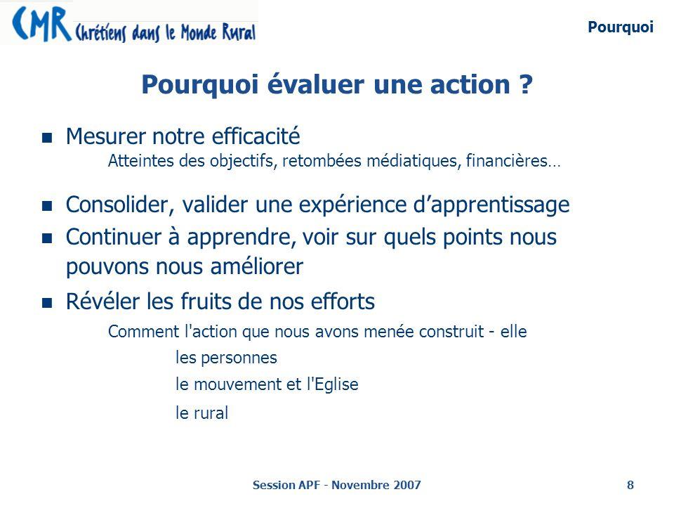 Session APF - Novembre 20078 Pourquoi évaluer une action .