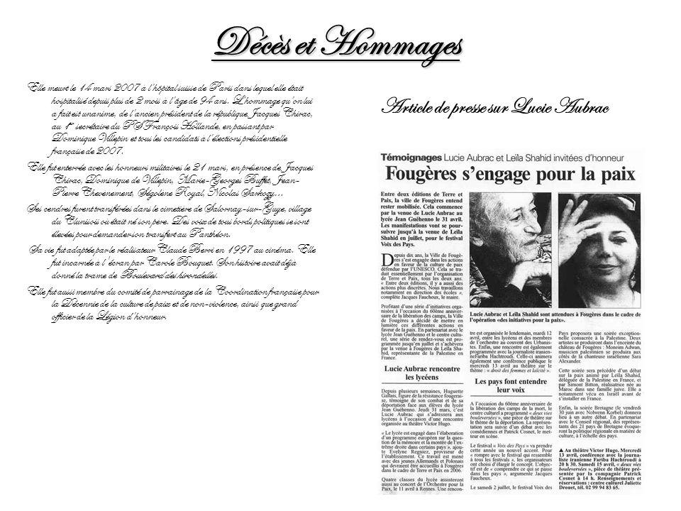 Décès et Hommages Elle meurt le 14 mars 2007 à lhôpital suisse de Paris dans lequel elle était hospitalisé depuis plus de 2 mois à lâge de 94 ans. Lho