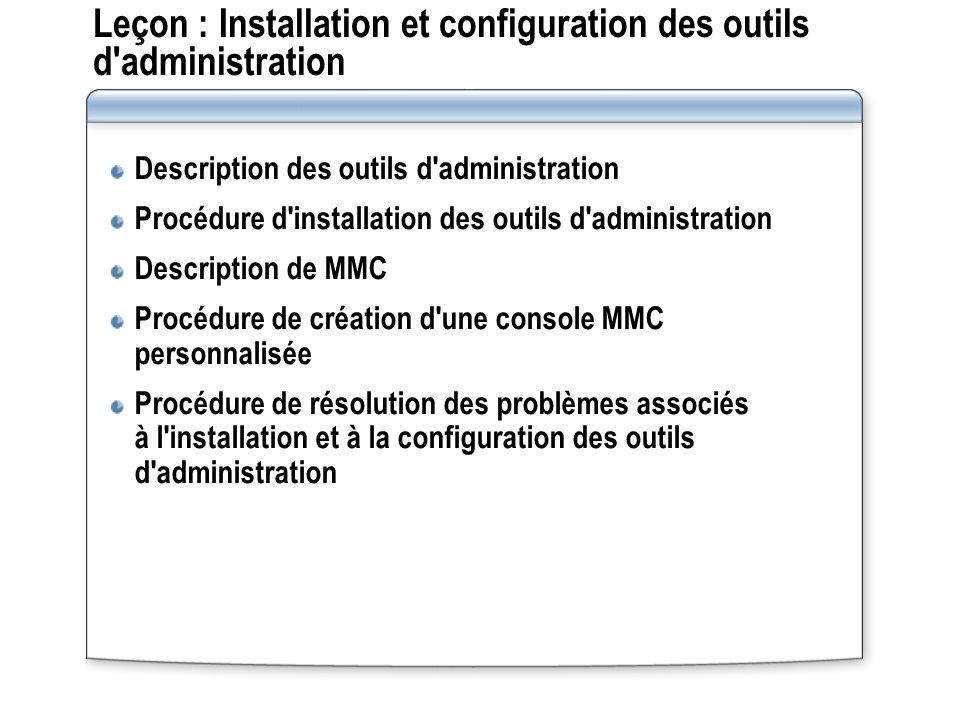 Leçon : Installation et configuration des outils d'administration Description des outils d'administration Procédure d'installation des outils d'admini