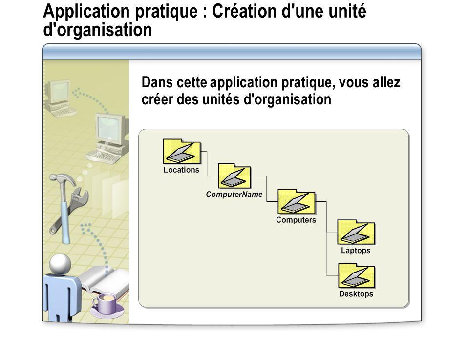 Application pratique : Création d'une unité d'organisation Dans cette application pratique, vous allez créer des unités d'organisation