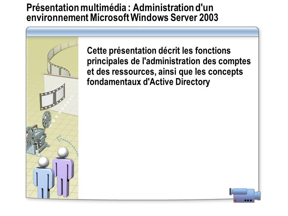 Présentation multimédia : Administration d'un environnement Microsoft Windows Server 2003 Cette présentation décrit les fonctions principales de l'adm