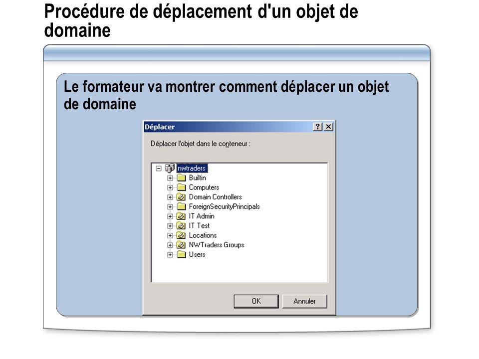 Le formateur va montrer comment déplacer un objet de domaine Procédure de déplacement d'un objet de domaine