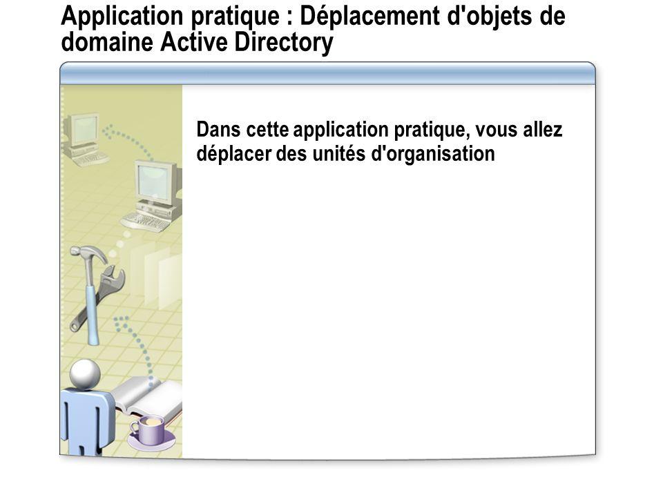 Application pratique : Déplacement d'objets de domaine Active Directory Dans cette application pratique, vous allez déplacer des unités d'organisation