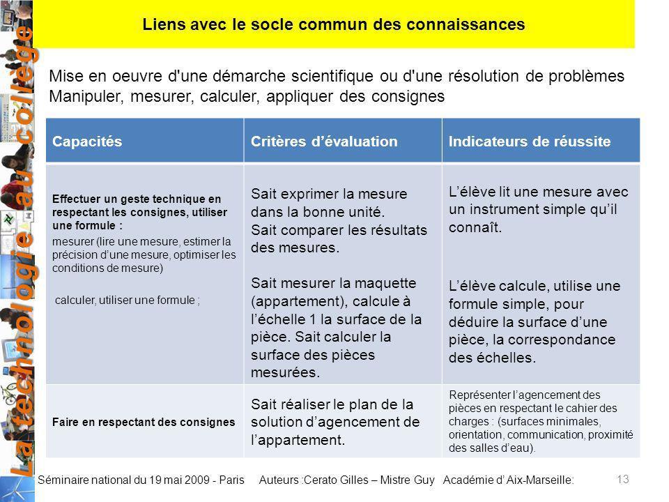 La technologie au collège Auteurs :Cerato Gilles – Mistre Guy Académie d Aix-Marseille: Séminaire national du 19 mai 2009 - Paris CapacitésCritères dé