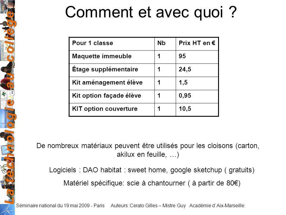 La technologie au collège Auteurs :Cerato Gilles – Mistre Guy Académie d Aix-Marseille: Séminaire national du 19 mai 2009 - Paris Comment et avec quoi