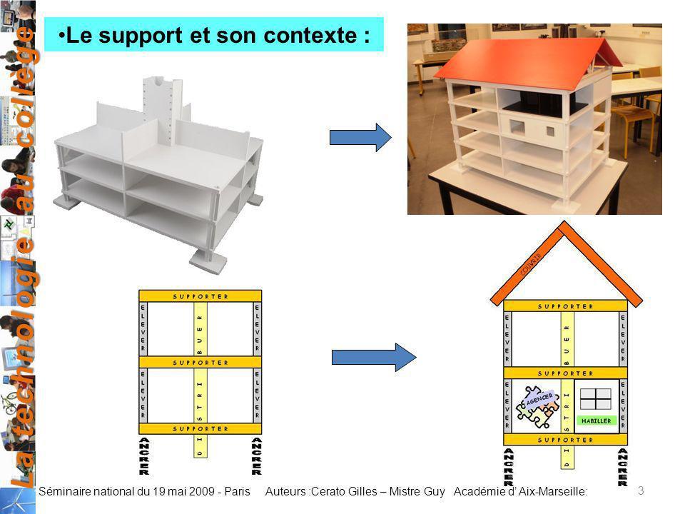 La technologie au collège Auteurs :Cerato Gilles – Mistre Guy Académie d Aix-Marseille: Séminaire national du 19 mai 2009 - Paris 3 Le support et son
