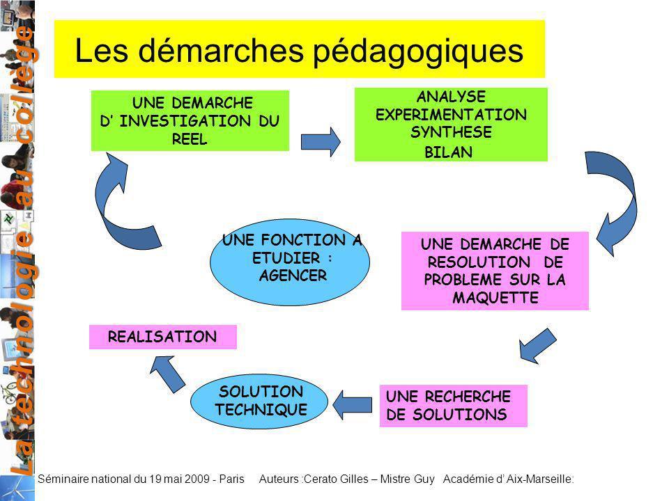 La technologie au collège Auteurs :Cerato Gilles – Mistre Guy Académie d Aix-Marseille: Séminaire national du 19 mai 2009 - Paris Les démarches pédago