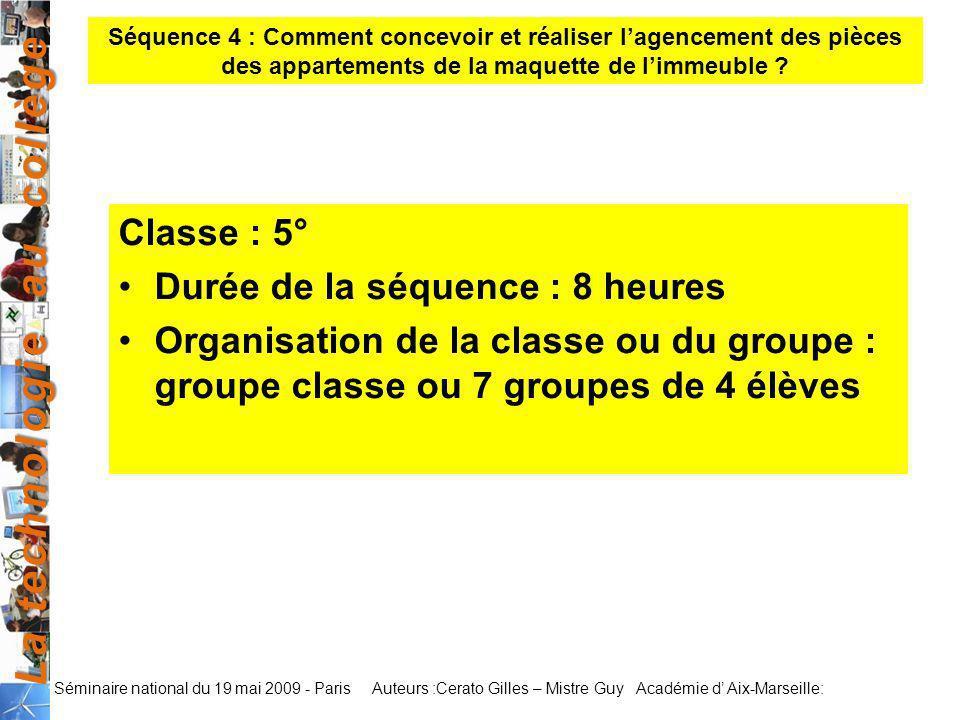 La technologie au collège Auteurs :Cerato Gilles – Mistre Guy Académie d Aix-Marseille: Séminaire national du 19 mai 2009 - Paris Classe : 5° Durée de