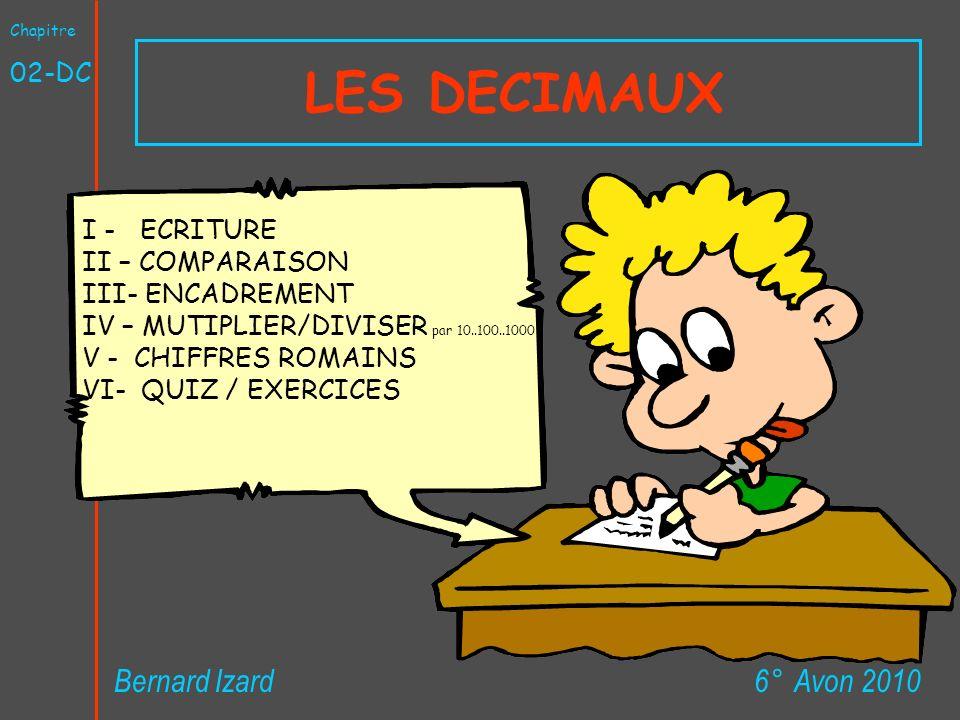 LES DECIMAUX 6° Avon 2010Bernard Izard Chapitre 02-DC I - ECRITURE II – COMPARAISON III- ENCADREMENT IV – MUTIPLIER/DIVISER par 10..100..1000 V - CHIF