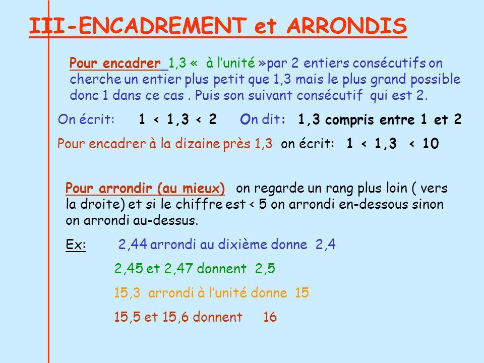 III-ENCADREMENT et ARRONDIS Pour arrondir (au mieux) on regarde un rang plus loin ( vers la droite) et si le chiffre est < 5 on arrondi en-dessous sin