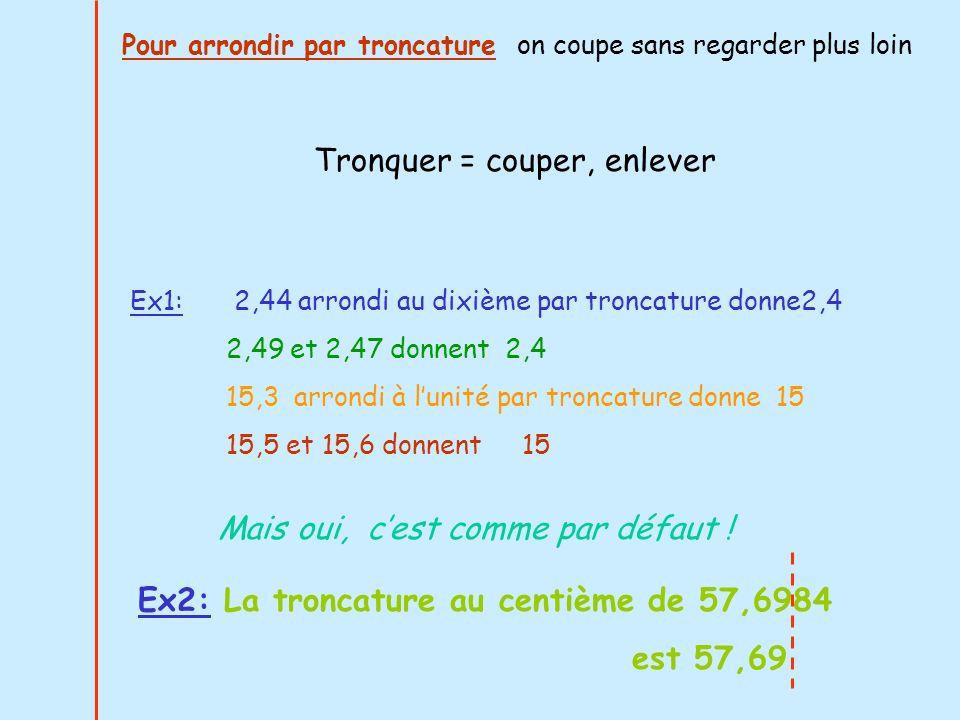 Ex1: 2,44 arrondi au dixième par troncature donne2,4 2,49 et 2,47 donnent 2,4 15,3 arrondi à lunité par troncature donne 15 15,5 et 15,6 donnent 15 Tr
