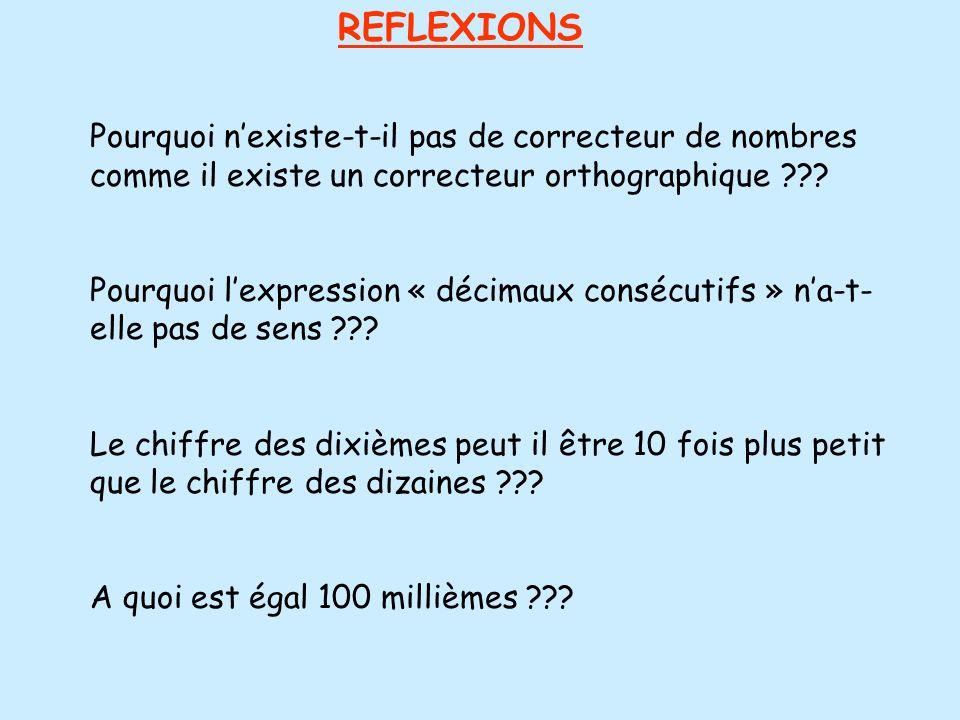 REFLEXIONS Pourquoi nexiste-t-il pas de correcteur de nombres comme il existe un correcteur orthographique ??? Pourquoi lexpression « décimaux consécu