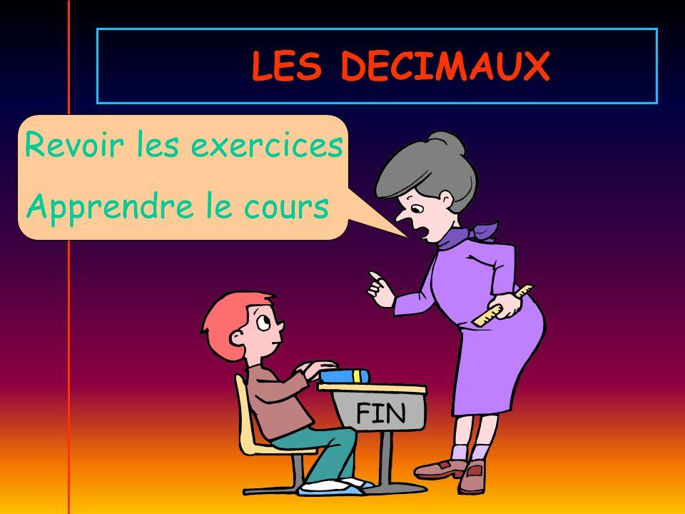 LES DECIMAUX Revoir les exercices Apprendre le cours FIN