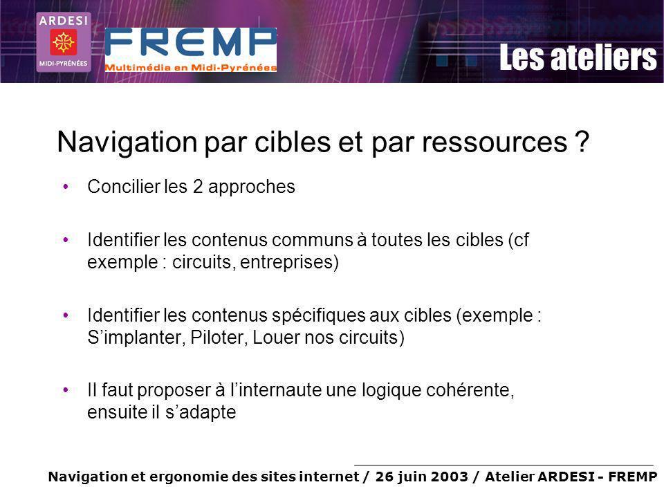 Navigation et ergonomie des sites internet / 26 juin 2003 / Atelier ARDESI - FREMP Les ateliers Navigation par cibles et par ressources ? Concilier le