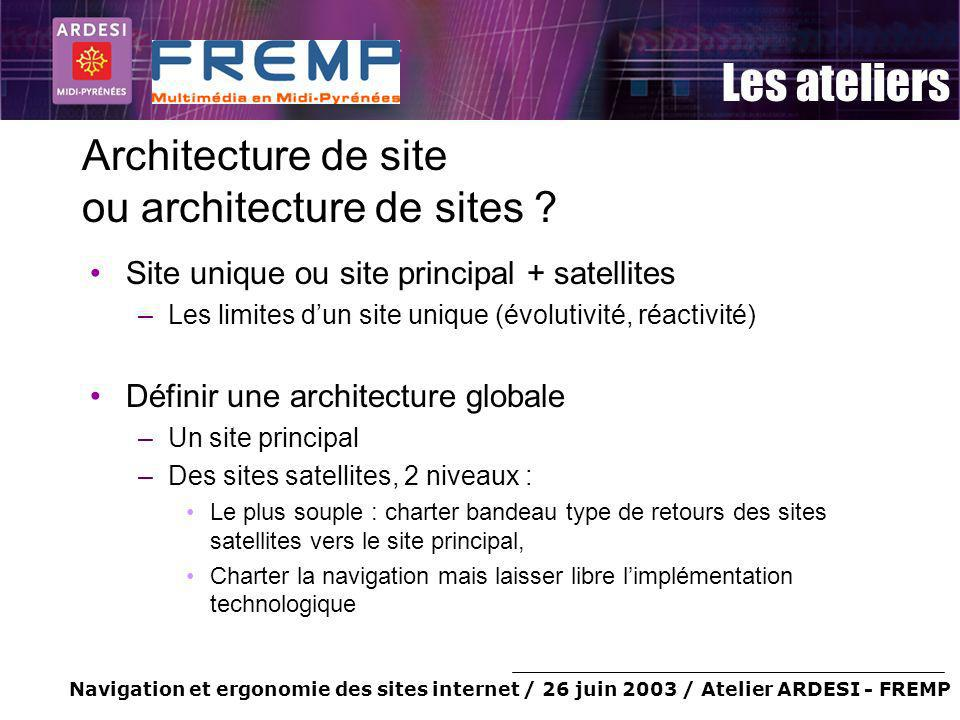 Navigation et ergonomie des sites internet / 26 juin 2003 / Atelier ARDESI - FREMP Les ateliers Architecture de site ou architecture de sites .