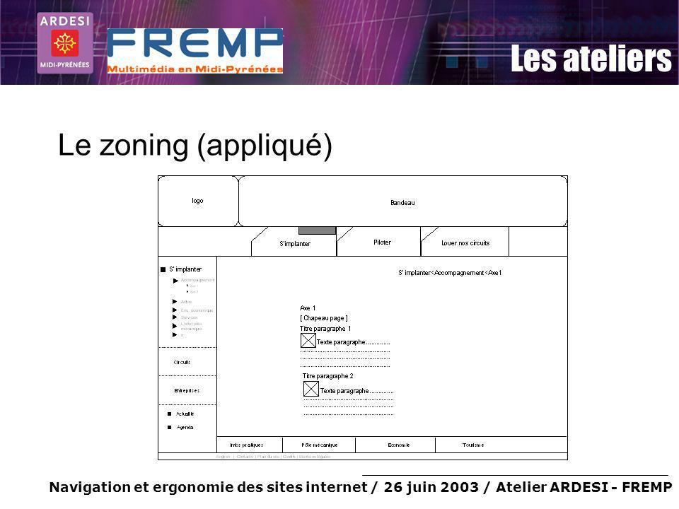Navigation et ergonomie des sites internet / 26 juin 2003 / Atelier ARDESI - FREMP Les ateliers Le zoning (appliqué)