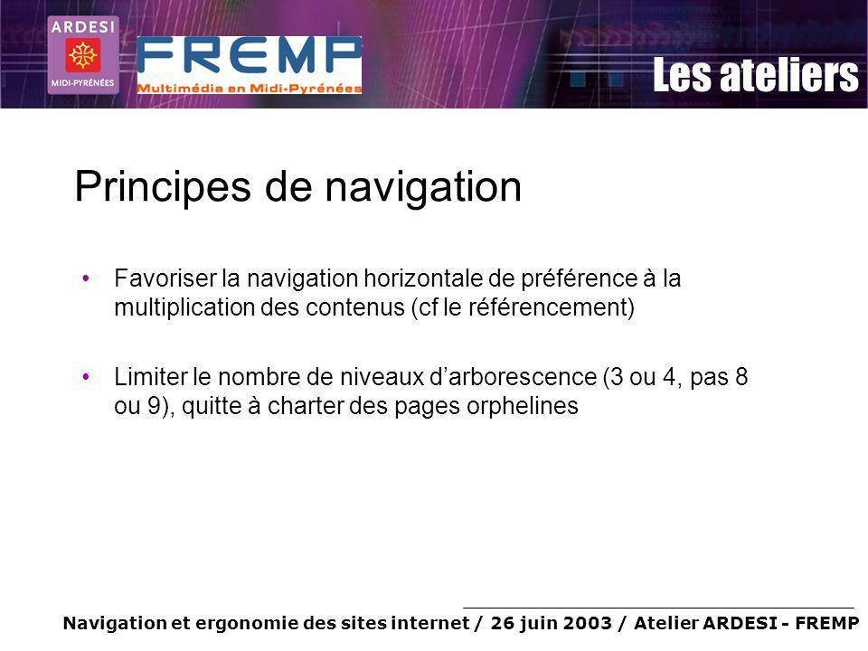Navigation et ergonomie des sites internet / 26 juin 2003 / Atelier ARDESI - FREMP Les ateliers Principes de navigation Favoriser la navigation horizo