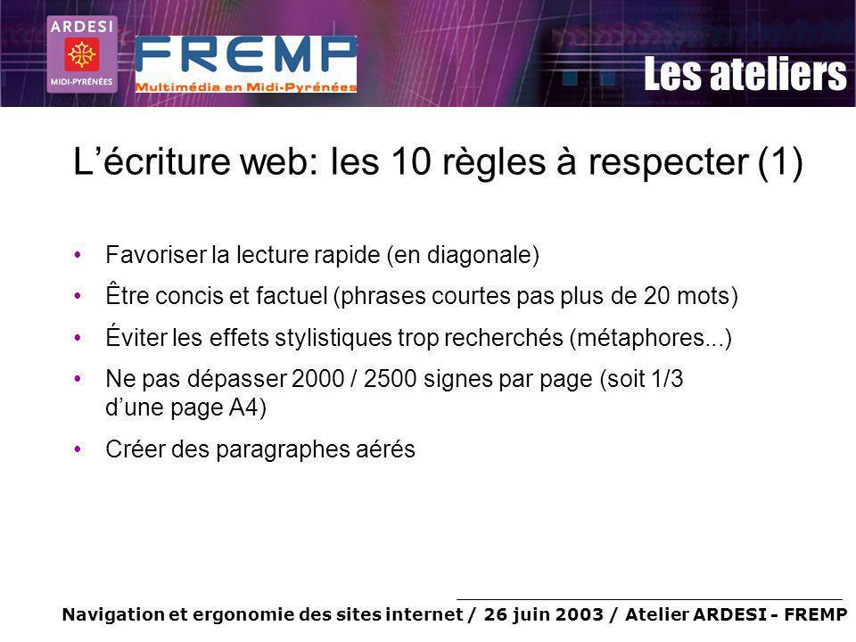 Navigation et ergonomie des sites internet / 26 juin 2003 / Atelier ARDESI - FREMP Les ateliers Lécriture web: les 10 règles à respecter (1) Favoriser