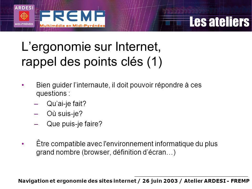 Navigation et ergonomie des sites internet / 26 juin 2003 / Atelier ARDESI - FREMP Les ateliers Lergonomie sur Internet, rappel des points clés (1) Bi