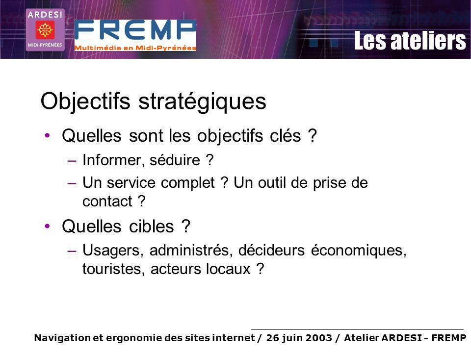 Navigation et ergonomie des sites internet / 26 juin 2003 / Atelier ARDESI - FREMP Les ateliers Objectifs stratégiques Quelles sont les objectifs clés