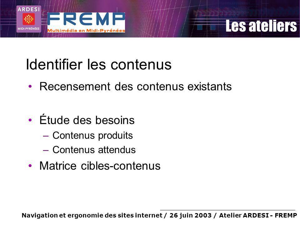 Navigation et ergonomie des sites internet / 26 juin 2003 / Atelier ARDESI - FREMP Les ateliers Identifier les contenus Recensement des contenus exist
