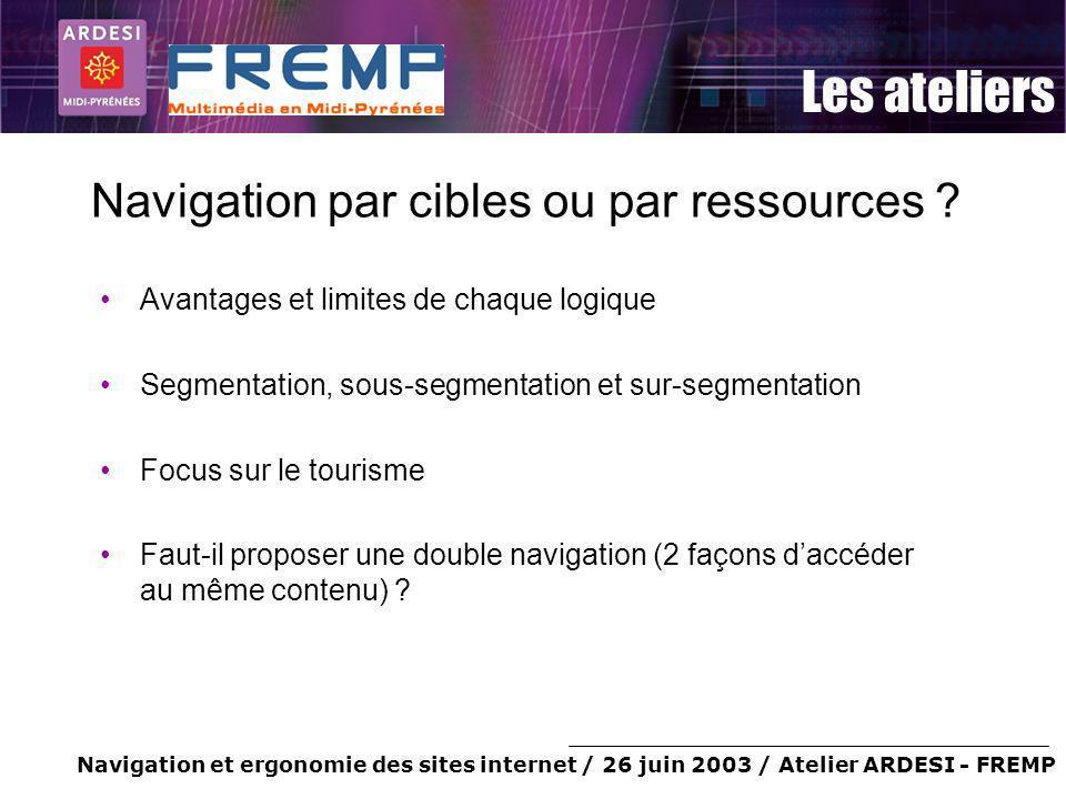 Navigation et ergonomie des sites internet / 26 juin 2003 / Atelier ARDESI - FREMP Les ateliers Navigation par cibles ou par ressources ? Avantages et