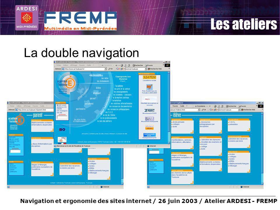 Navigation et ergonomie des sites internet / 26 juin 2003 / Atelier ARDESI - FREMP Les ateliers La double navigation