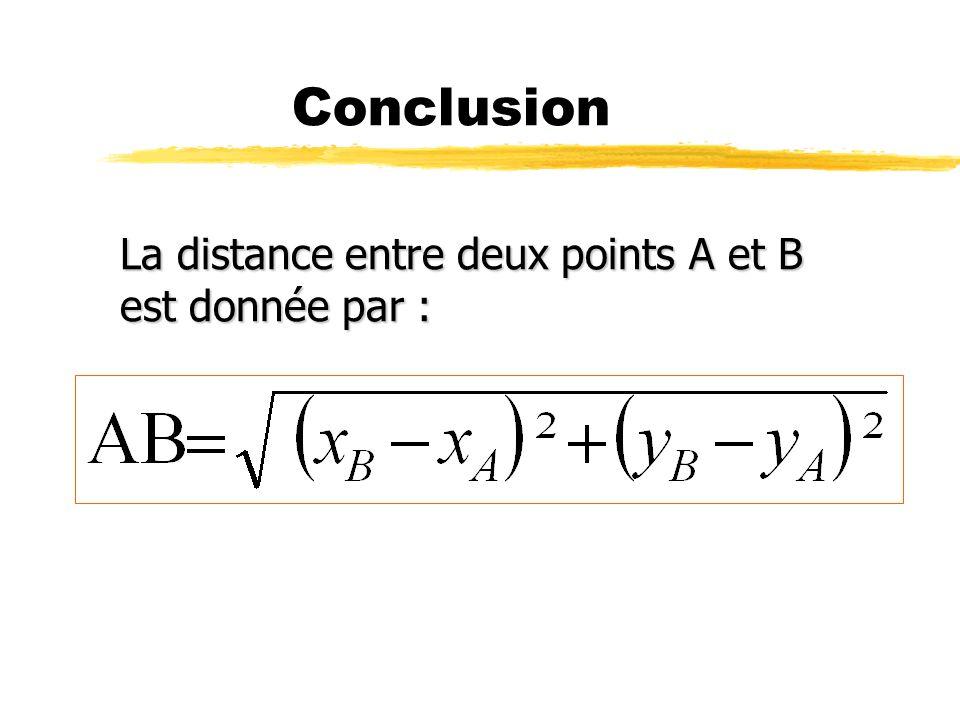 Distance entre deux points O A B d où H x B x A y B y A I xAxA xBxB J yAyA yByB