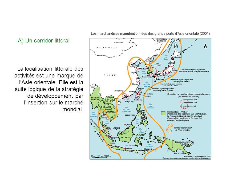 A) Un corridor littoral La localisation littorale des activités est une marque de lAsie orientale. Elle est la suite logique de la stratégie de dévelo