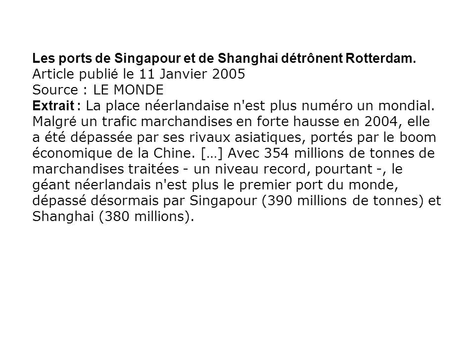 Les ports de Singapour et de Shanghai détrônent Rotterdam. Article publi é le 11 Janvier 2005 Source : LE MONDE Extrait : La place néerlandaise n'est