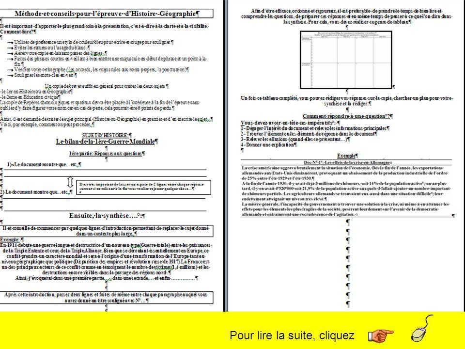 Pour lire la suite, cliquez 1- Dégager lintérêt du document et relevez les informations principales 2- Trouver lélément ou les éléments de réponse dans le document 3- Relever les allusions (quand elles se présentent…) 4- Donner une explication