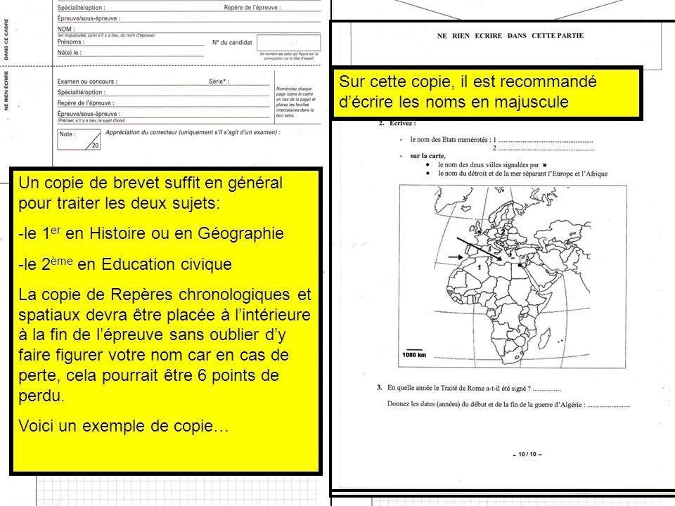 Méthode et consignes pour lépreuve dHistoire -Géographie Il est important dapporter le plus grand soin à la présentation, cest-à-dire à la clarté et à