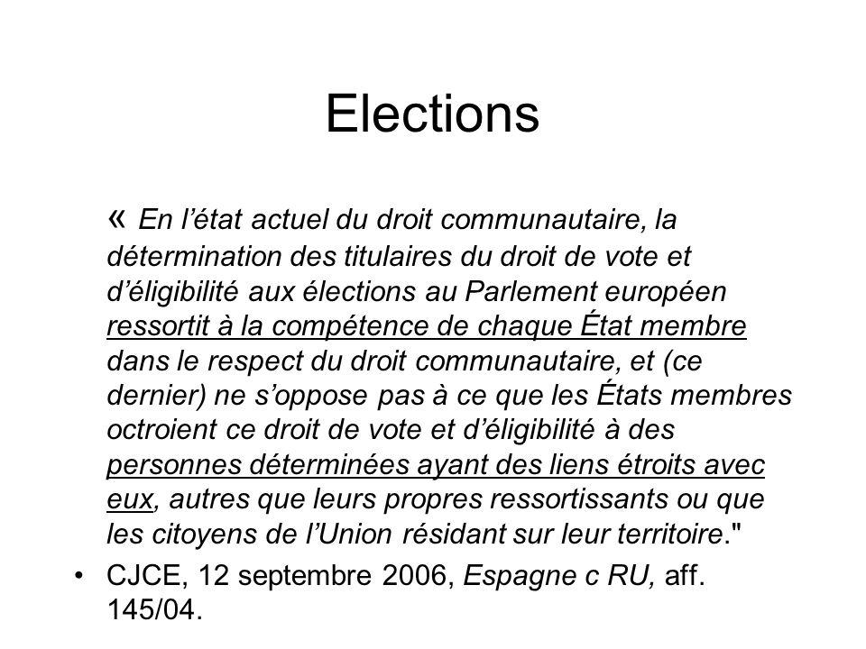Elections « En létat actuel du droit communautaire, la détermination des titulaires du droit de vote et déligibilité aux élections au Parlement europé