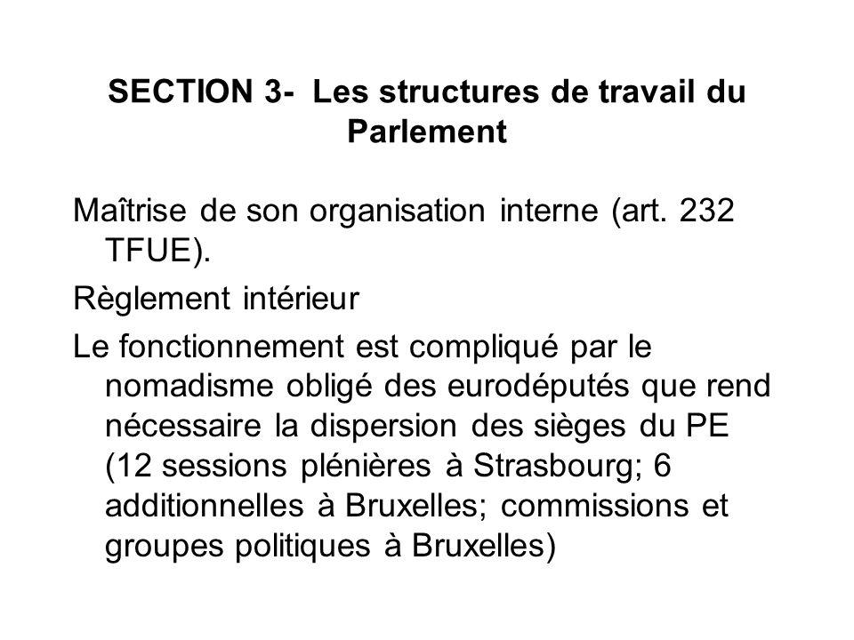 SECTION 3- Les structures de travail du Parlement Maîtrise de son organisation interne (art. 232 TFUE). Règlement intérieur Le fonctionnement est comp