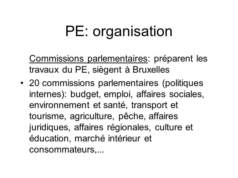 PE: organisation Commissions parlementaires: préparent les travaux du PE, siègent à Bruxelles 20 commissions parlementaires (politiques internes): bud