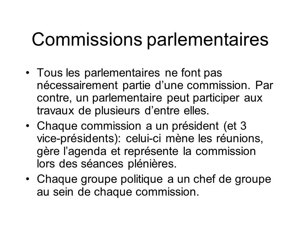 Commissions parlementaires Tous les parlementaires ne font pas nécessairement partie dune commission. Par contre, un parlementaire peut participer aux