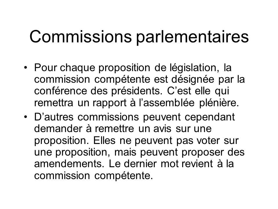 Commissions parlementaires Pour chaque proposition de législation, la commission compétente est désignée par la conférence des présidents. Cest elle q