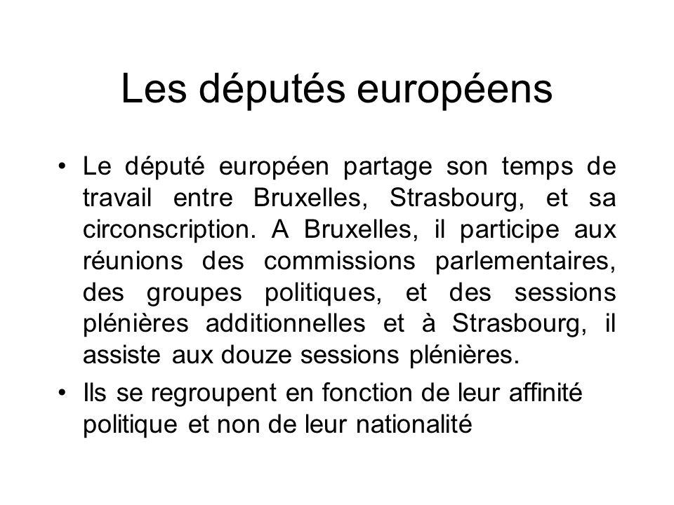 Les députés européens Le député européen partage son temps de travail entre Bruxelles, Strasbourg, et sa circonscription. A Bruxelles, il participe au