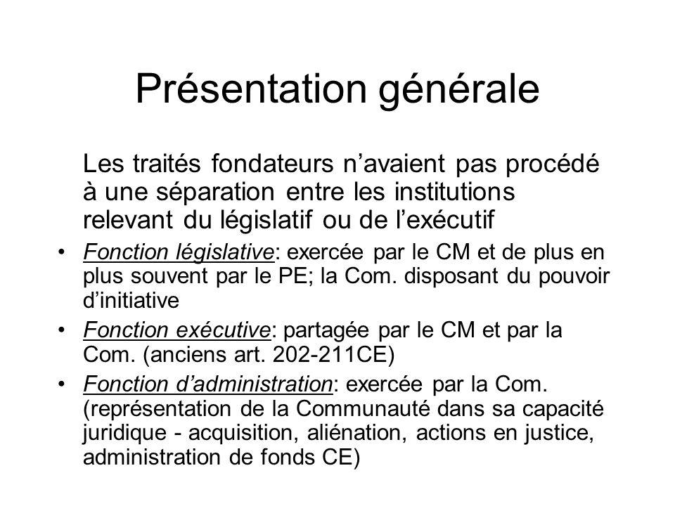 Présentation générale Les traités fondateurs navaient pas procédé à une séparation entre les institutions relevant du législatif ou de lexécutif Fonct
