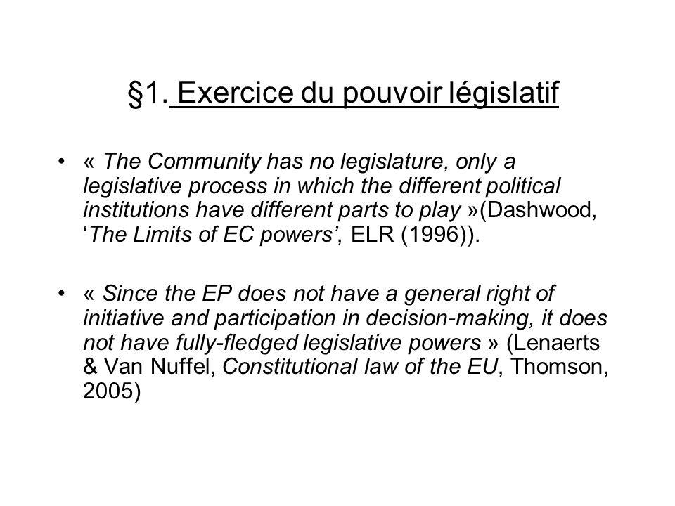 §1. Exercice du pouvoir législatif « The Community has no legislature, only a legislative process in which the different political institutions have d