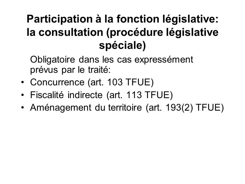 Participation à la fonction législative: la consultation (procédure législative spéciale) Obligatoire dans les cas expressément prévus par le traité: